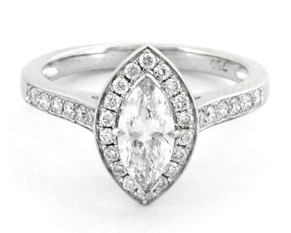 HD004 Marquise diamond set halo engagement ring 1