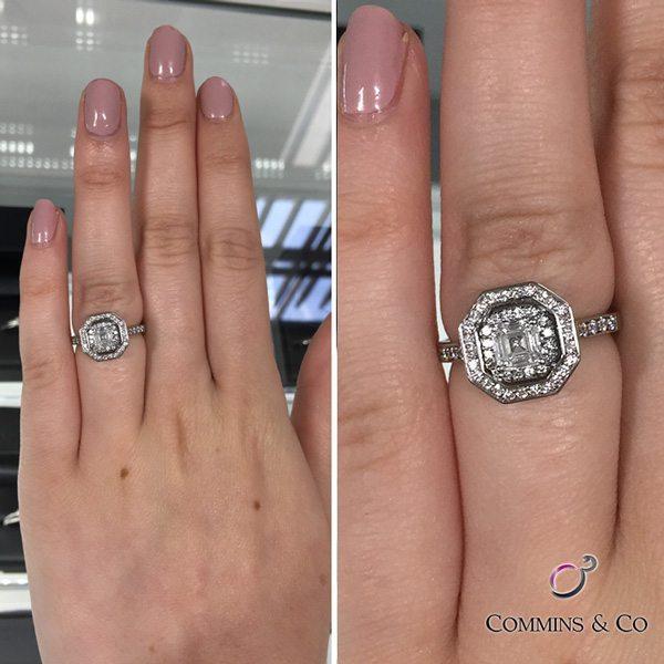 asscher cut halo diamond engagement ring on hand hd030 image 1