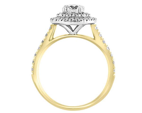 yellow gold halo diamond engagement ring hd052 image 2