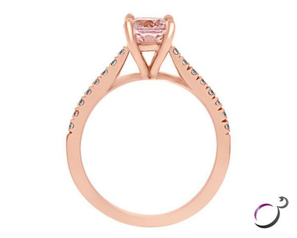 oval cut morganite and diamond gemstone ring gr011 image 1