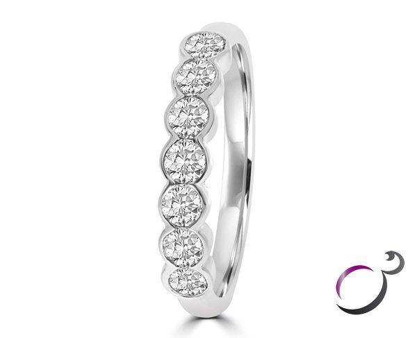 Bezel Set Wedding Ring WR023 White gold